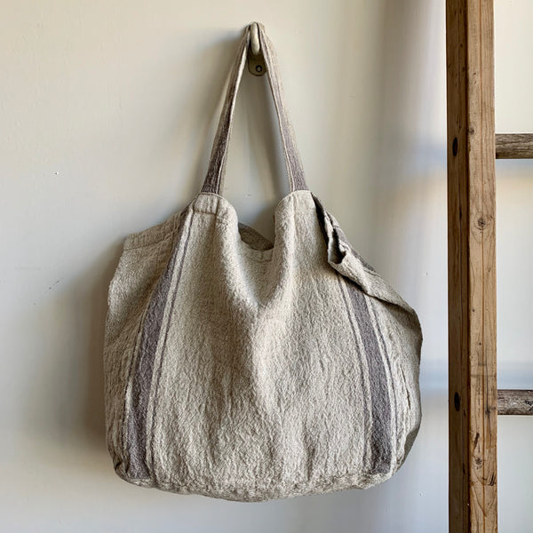 Stripe Linen Tote Bag - Gray