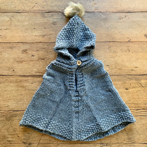 Hand Knit Kids Poncho - Gray