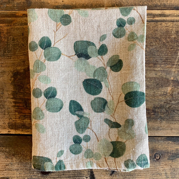 Washed Linen Tea Towel - Natural Eucalyptus