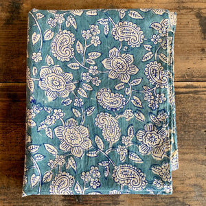 Hand Dyed, Wood Block Print Scarf - Blue Floral