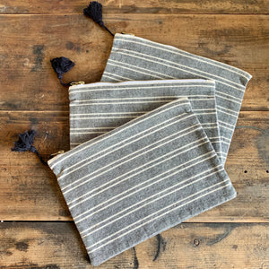 Striped Cotton Pouch
