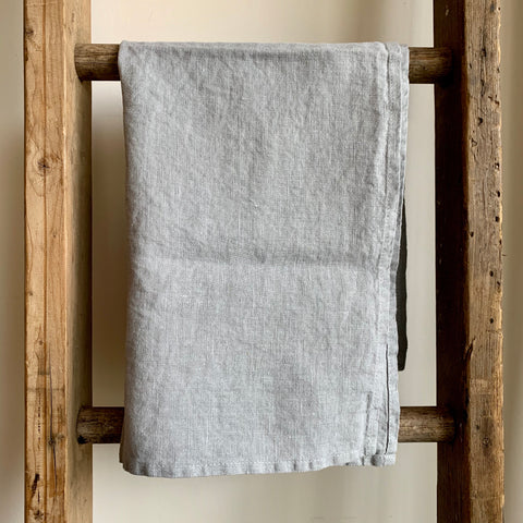 Washed Linen Tea Towel - Light Gray