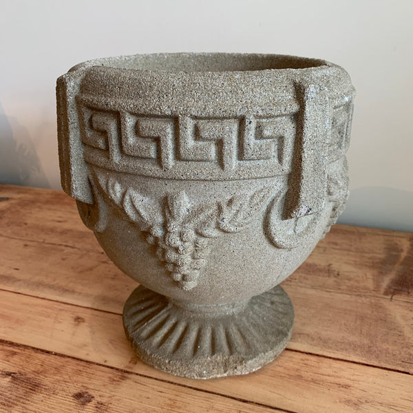 Vintage Greek Key Grapevine Cement Urn #2