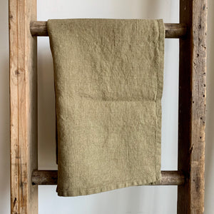 Washed Linen Tea Towel - Olive