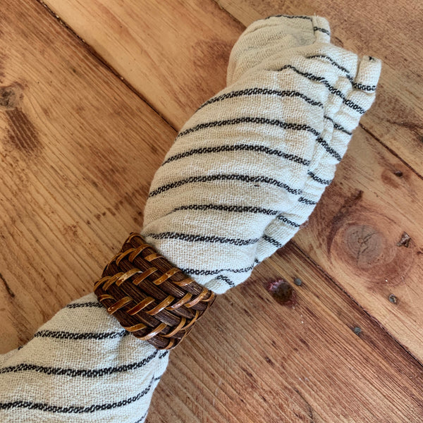 Set of 6 Handwoven Rattan Napkin Rings