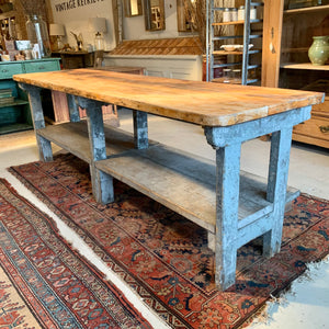 Vintage Worktable with Lower Shelf