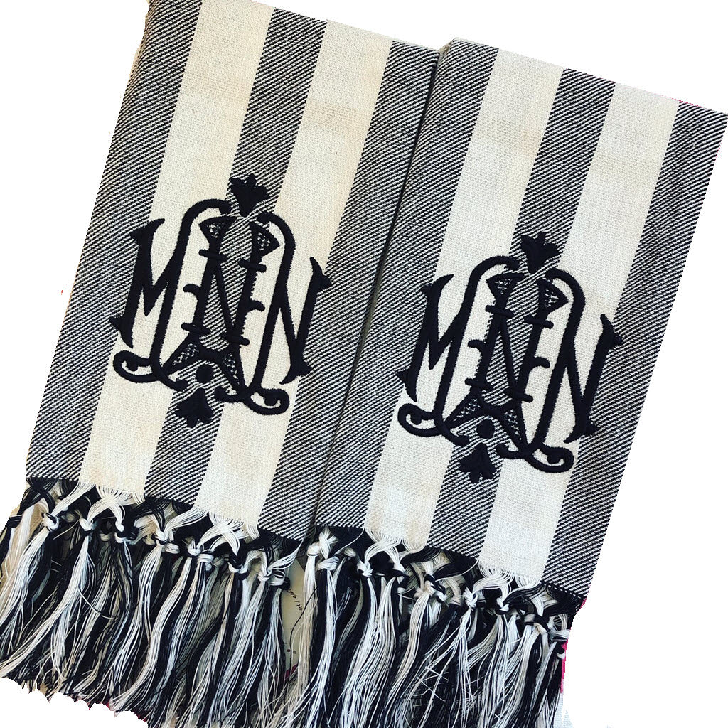 Briscola Black and Ivory Stripe Guest Towel