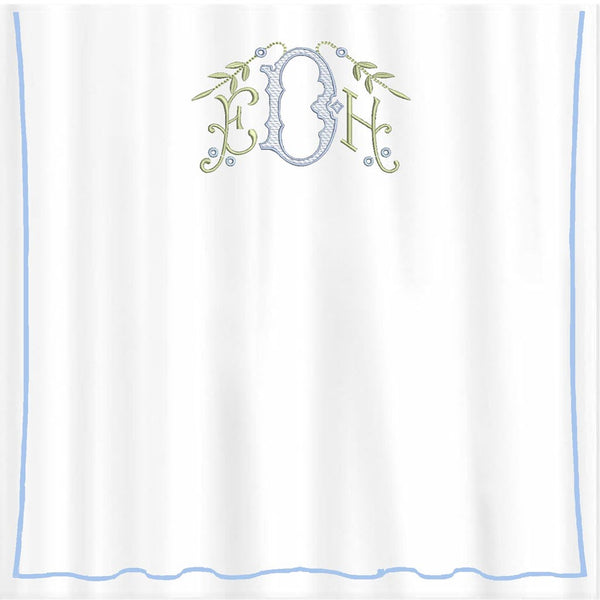 Piped Diamond Pique Shower Curtain