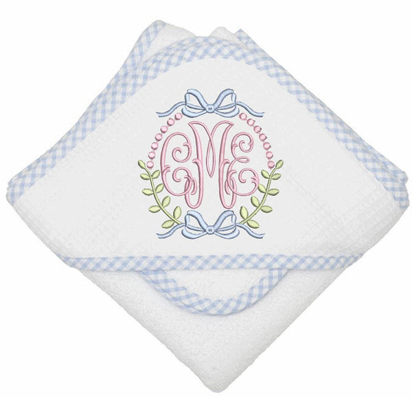 Gingham Hooded Towel/Washcloth Set (2 Colors)