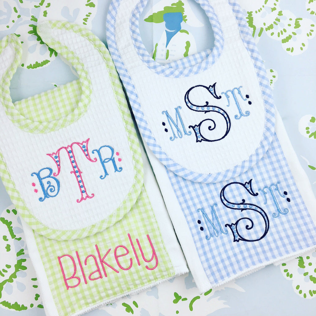 Gingham Bib and Burp Set (5 Colors)