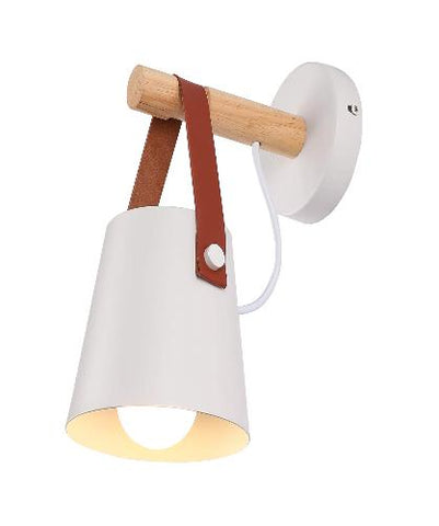 Nordic White Bedroom Bedside Wall Sconce Lamps Bathroom Leather and Wood Vanity Mirror Light Living Room Decor Lighting