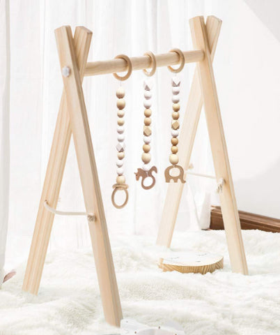 Foldable Wood Baby Gym with 3 Wooden Baby Teething Toys