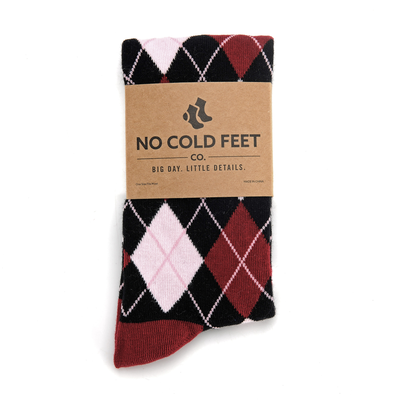 Black, Red, and Pink Argyle Socks