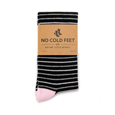 Black, Pink and Grey Striped Socks