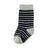 Black, White, and Grey Striped Toddler Socks