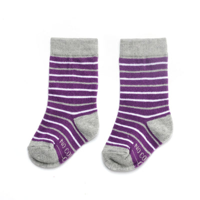 Purple, Grey, and White Striped Toddler Socks