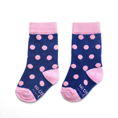 Navy Blue with Pink Polka Dot Toddler Socks