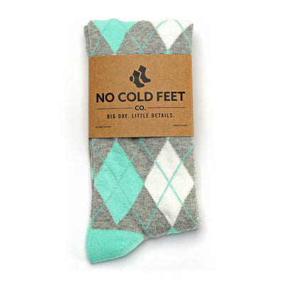Mint and Grey Argyle Socks