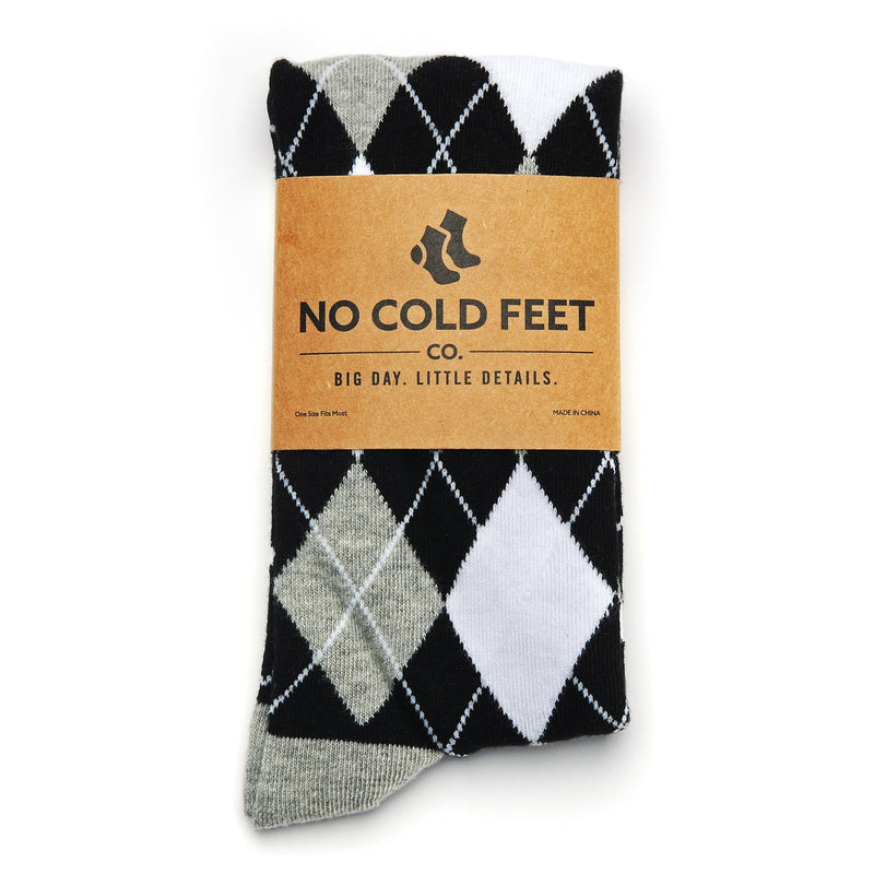 Black, White, and Grey Argyle Socks
