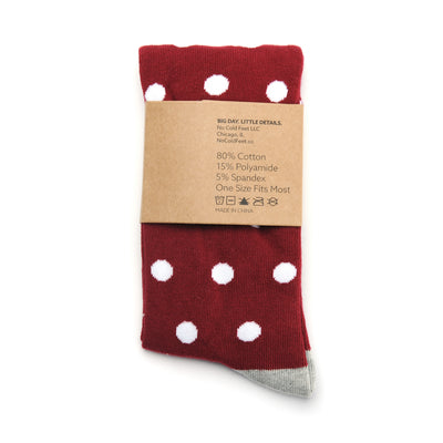Burgundy with White Polka Dot Socks