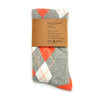 Coral and Grey Argyle Socks