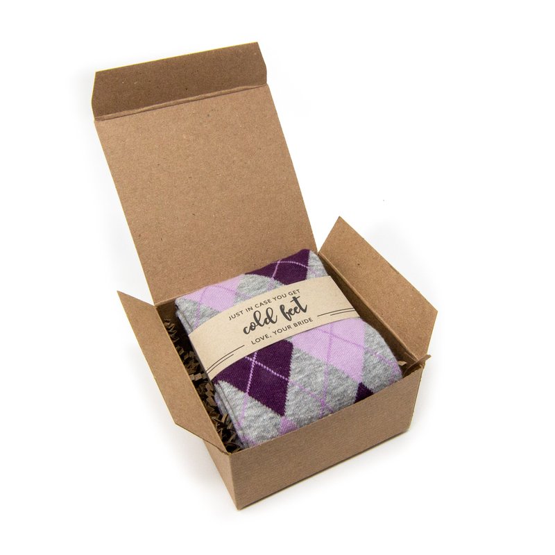 Single Sock in Box with In Case of Cold Feet Label | NoColdFeet