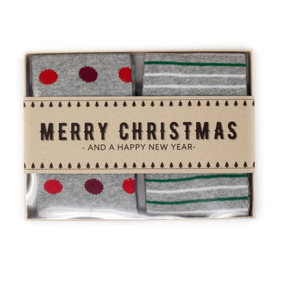 2-Sock Christmas Gift Box Set w/ Label | NoColdFeet