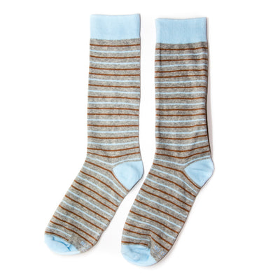 Blue, Brown, and Grey Striped Socks | NoColdFeet