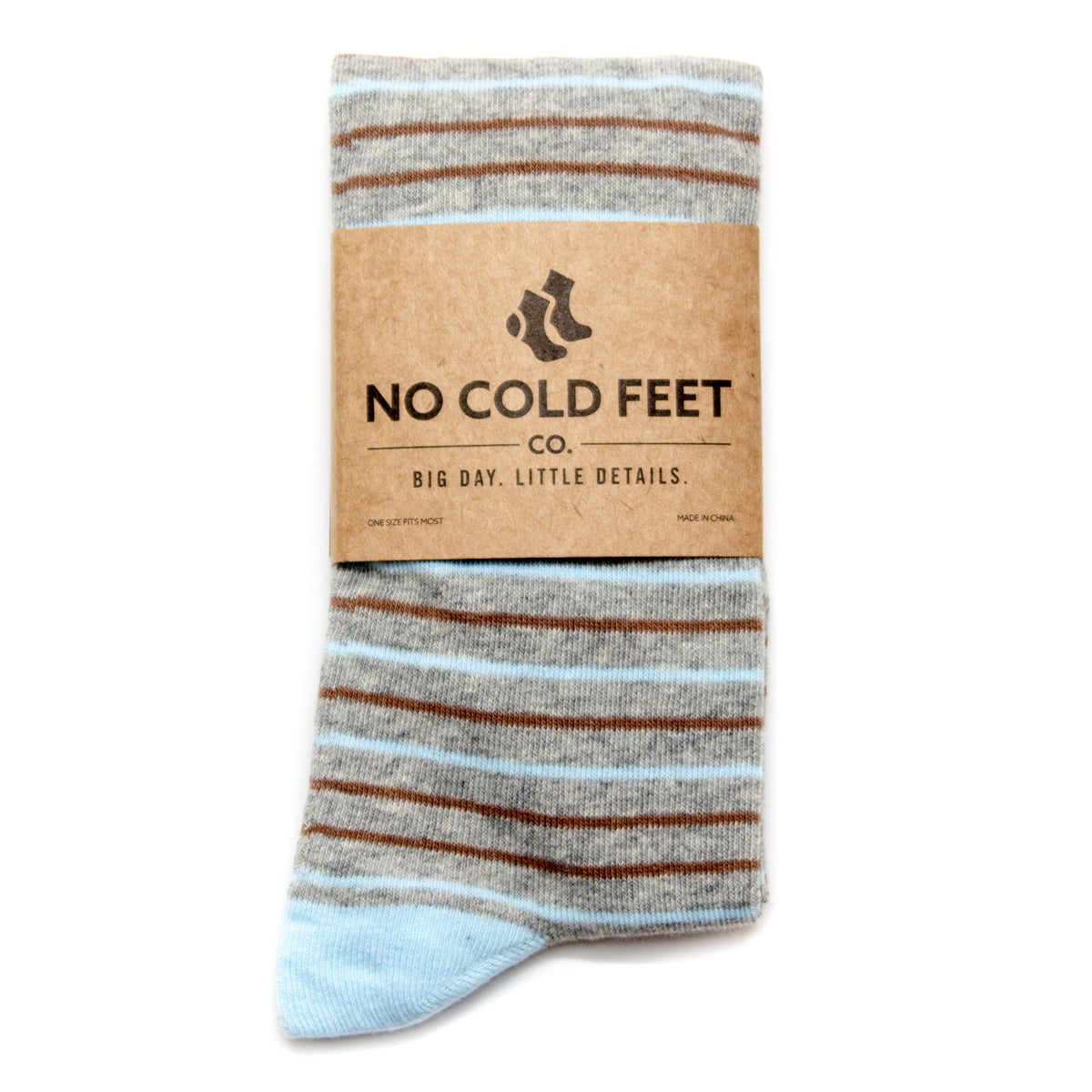 Black, Brown, and Grey Striped Groomsmen Socks | No Cold Feet
