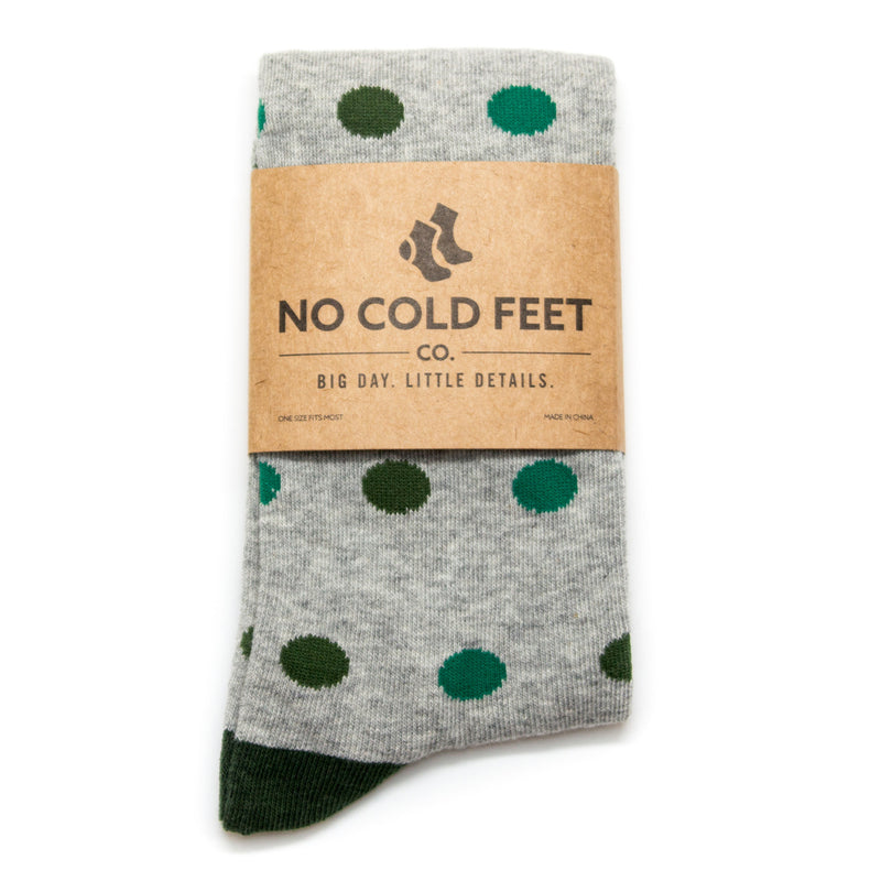 Green and Grey Polka Dot Socks | NoColdFeet