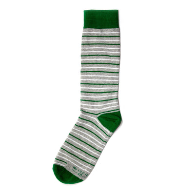 Green and Grey Striped Socks | NoColdFeet