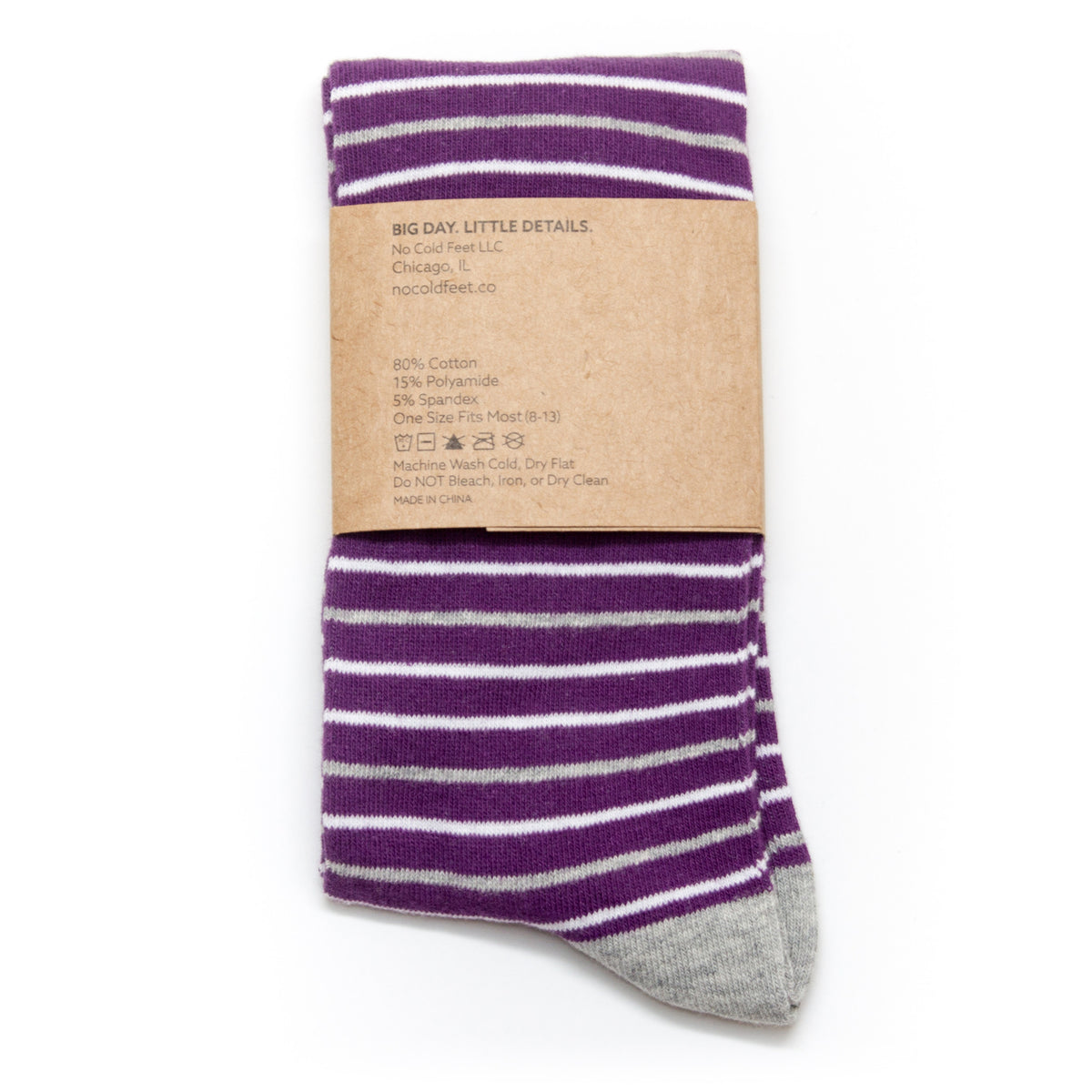 Purple, Grey, and White Striped Socks | NoColdFeet