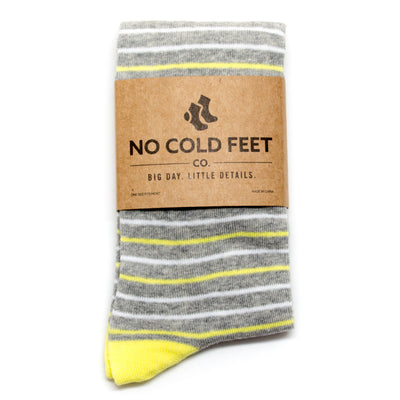 Yellow and Grey Striped Socks | NoColdFeet