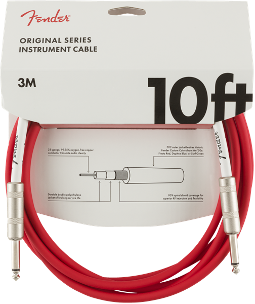 Fender 10ft Original series instrument cable - Fiesta Red