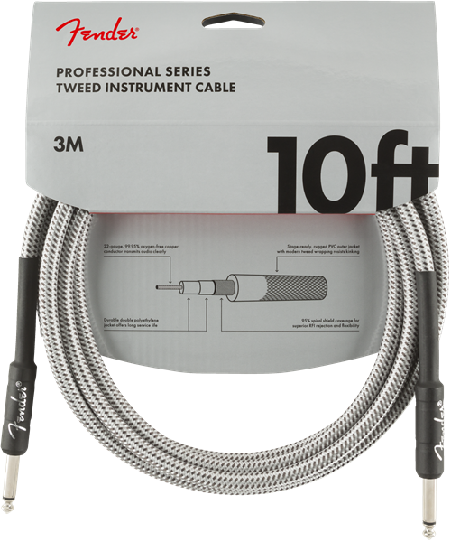 Fender 10ft Professional Series Instrument Cable - White Tweed