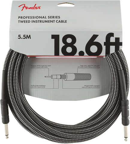 Fender 18.6ft Professional Series Instrument Cable - Grey Tweed
