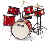Stagg TIM JR - Red- 5-piece junior drum set with hardware