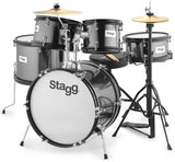 Stagg TIM JR - Black - 5-piece junior drum set with hardware