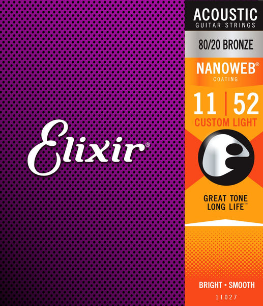 Elixir 80/20 Bronze Acoustic Sets Ultra-Thin Nanoweb Coating, Custom Light, 11-52
