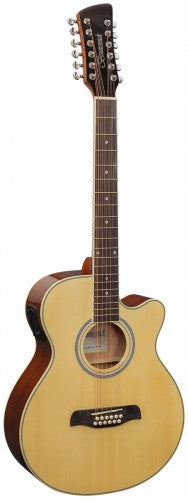 Brunswick BTK5012 12-String Grand Auditorium Electro-Acoustic Guitar - Natural