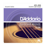 D'Addario EJ26 Phosphor Bronze, Custom Light, 11-52, Acoustic Guitar Strings