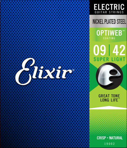Elixir Nickel Plated Steel Optiweb Electric, Super Light, 9-42