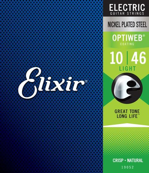 Elixir Nickel Plated Steel Optiweb Electric, Light, 10-46