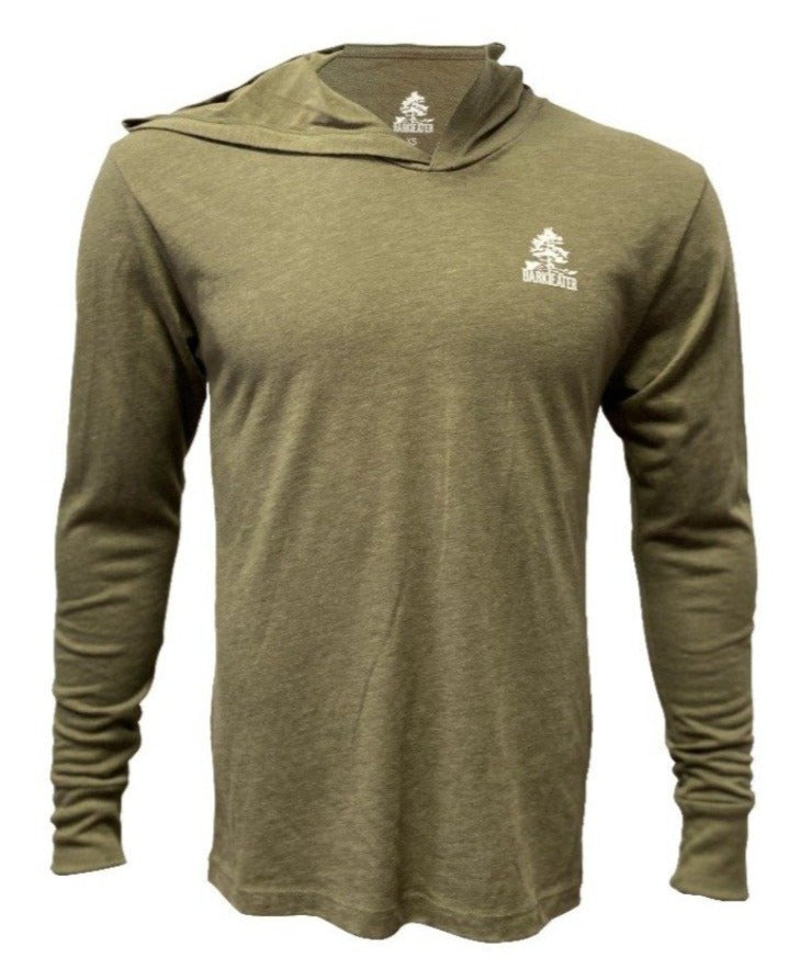 The eastern white pine in our Bark Eater logo will pop against an Olive tri-blend hooded tee shirt.  Perfect for the trail or couch. Reap the Adirondacks in style and comfort!