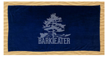 Our dark navy blue 100% ringspun cotton beach towels features the Bark Eater Outfitters logo in light tone horizontally. The eastern white pine is abundant in the Adirondacks