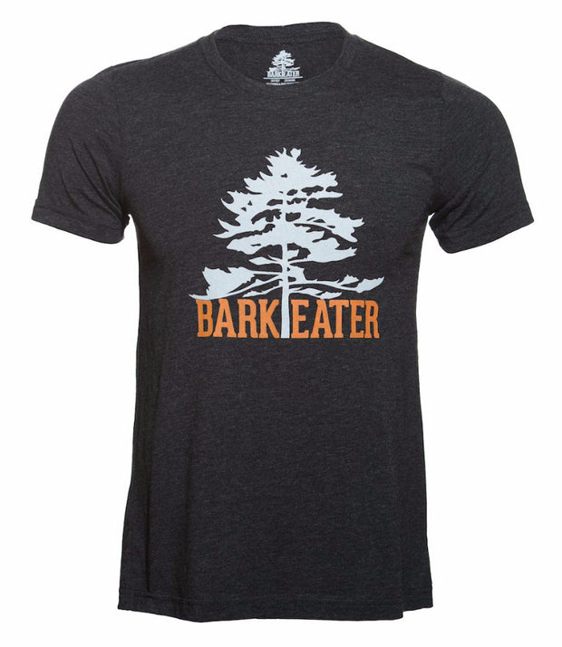 Our logo shirt features an eastern white pine above Bark Eater in burnt orange.