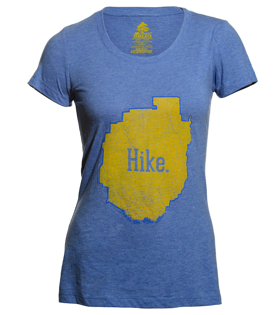 An incredibly soft unisex Blue triblend tee shirt with the outline of the Adirondack Park in blue ink. Inside the blue line is a yellow topographic map of Mt Marcy, New York's highest peak, with the word Hike centered on the front of the tee.