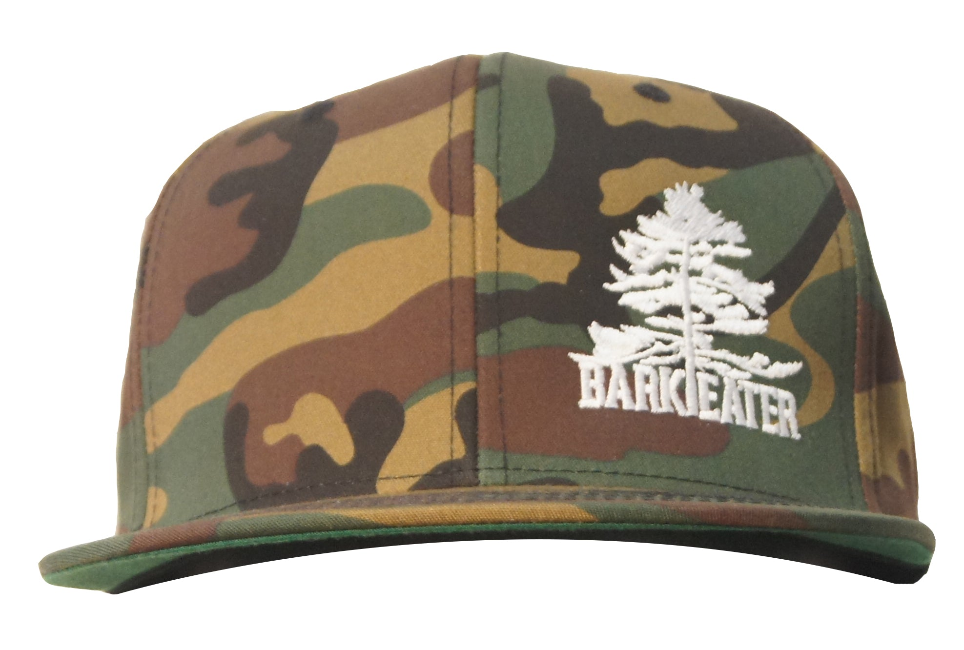 wool camo structured flat brim snapback hat with bark eater outfitter's logo (eastern white pine tree with the words Bark and Eater underneath). centered on the front right panel in white embroidery