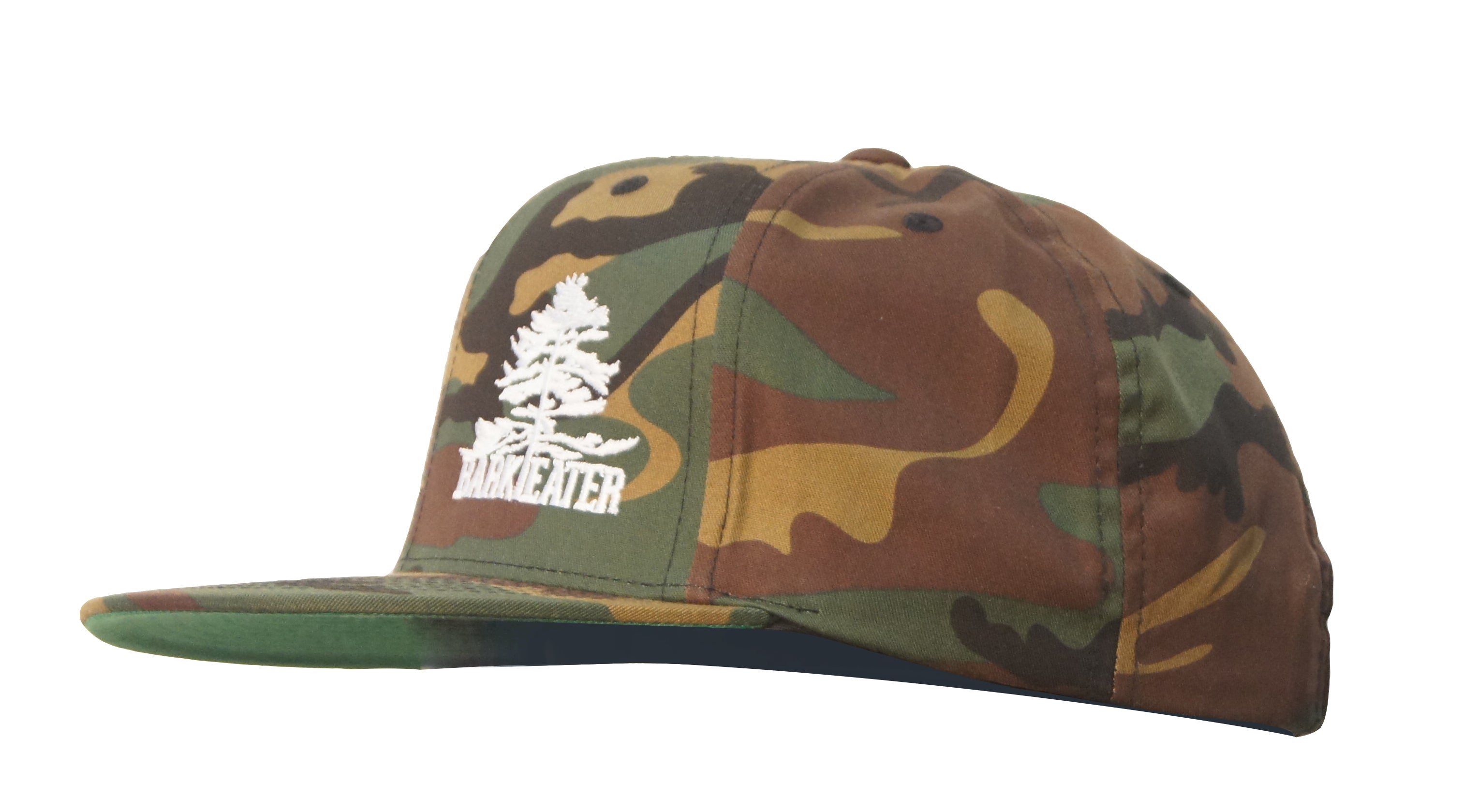 side view wool camo structured flat brim snapback hat with bark eater outfitter's logo (eastern white pine tree with the words Bark and Eater underneath). centered on the front right panel in white embroidery