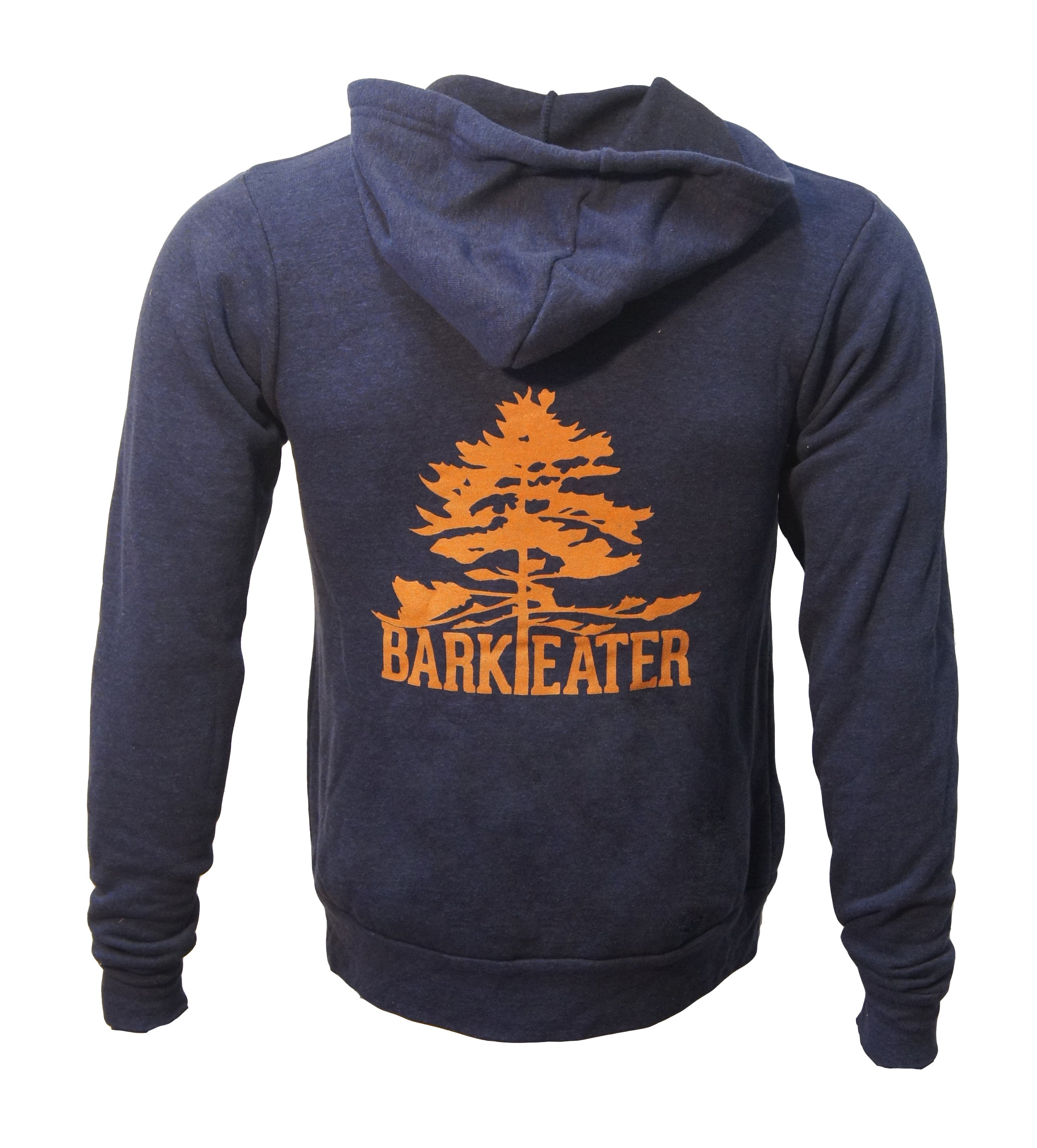 Navy blue pullover sweatshirt with burnt orange Bark Eater log on the back.  Great year-round Adirondack apparel!